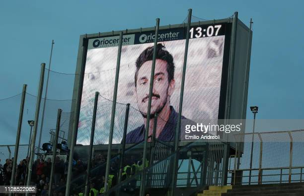 People and players pay a tribute to Davide Astori a football player of ACF Fiorentina found dead one year ago during the Serie A match between...