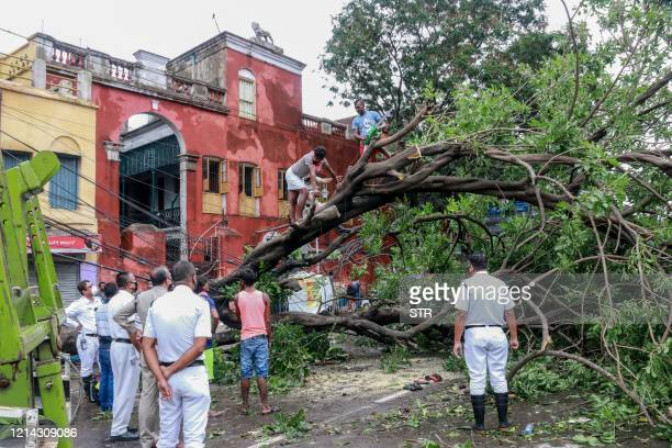 TOPSHOT People and police personnel gather around a tree that fell on electric lines on a street after the landfall of cyclone Amphan in Kolkata on...