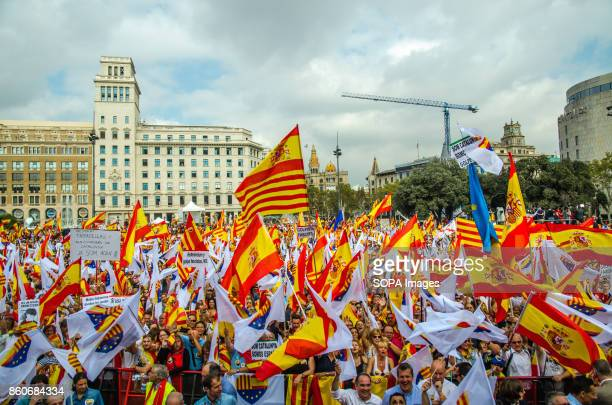 People and Spanish flags seen at the Catalonia's Barcelona Plaza Hispanic Heritage Day is being celebrated across Spain Loyalist organizations urged...