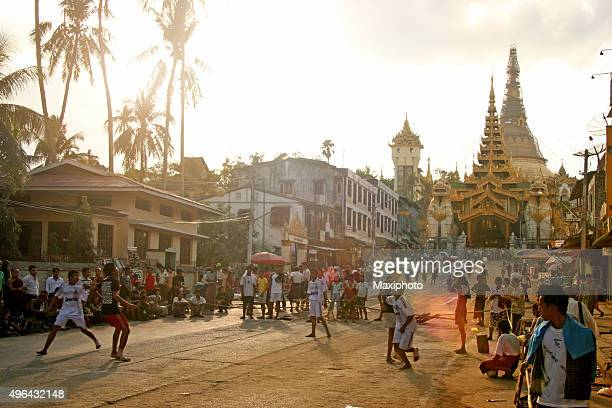 people and street life in yangon, myanmar - yangon stock pictures, royalty-free photos & images