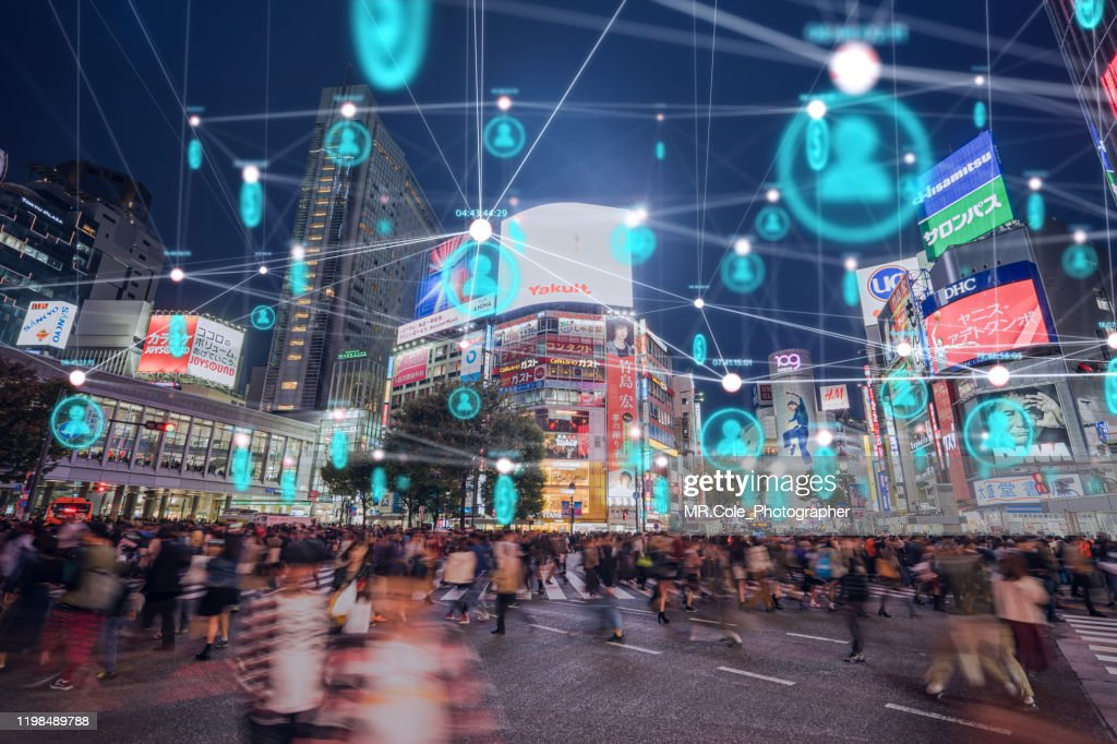 People and technology concept,Global communication icon with network connections line above crowded people walking .Internet of Things And smart city concept,Technology-Futuristic concept : Stock Photo