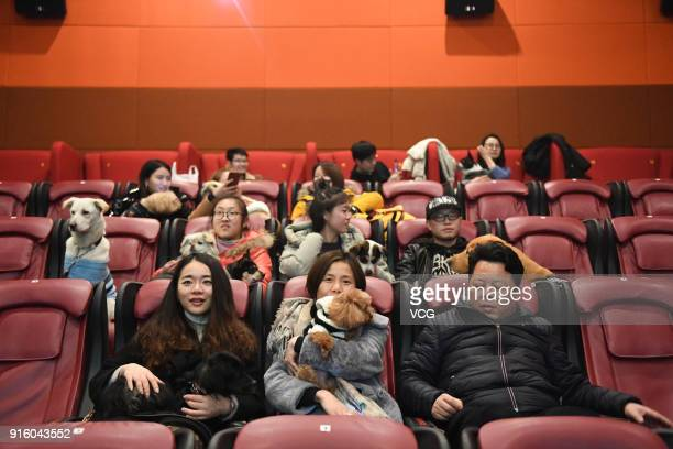 People and their dogs are invited to watch a film at a cinema on February 8, 2018 in Hangzhou, China. Chinese People are preparing for the upcoming...