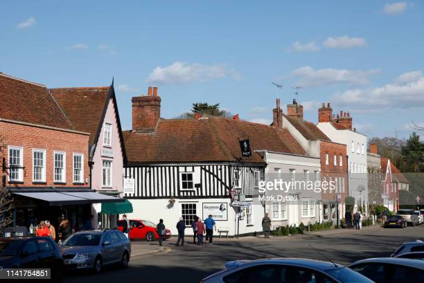people and tourists visiting the village of dedham - mark dyball stock photos and pictures