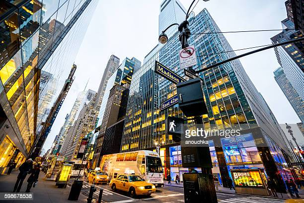 people and traffic on new york streets, usa - madison avenue stock pictures, royalty-free photos & images