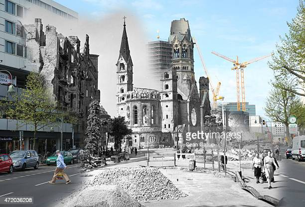 In this digital composite image a comparison has been made showing people walking past the ruins of the Kaiser Wilhelm Memorial Church on July 1945...
