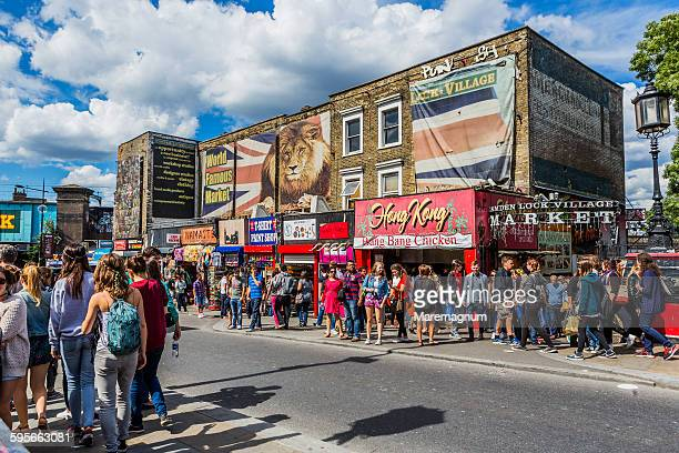 People and typical shops in Camden High street