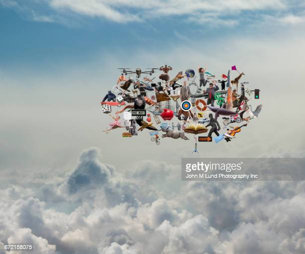 People, animals and objects floating in cloud storage