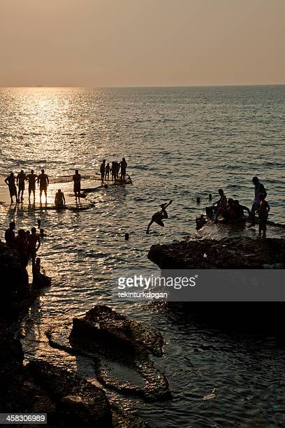People are at the beach of Beirut Lebanon