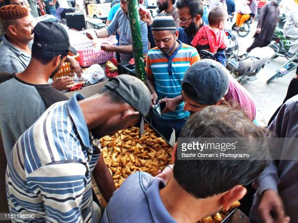 People are buying food items for Iftar