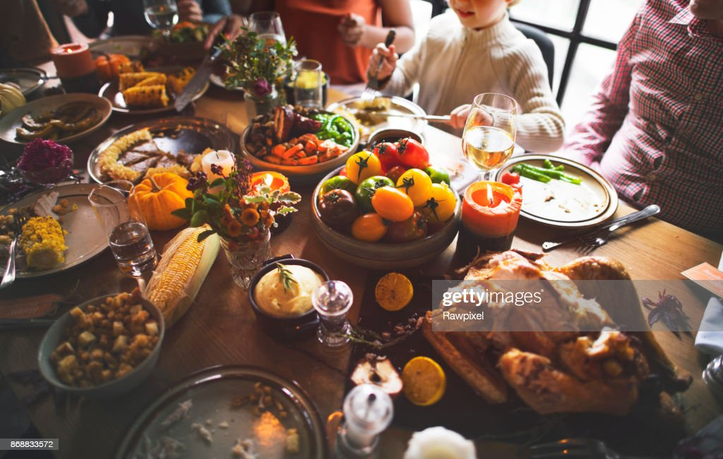 People are celebrating Thanksgiving day : Stock Photo