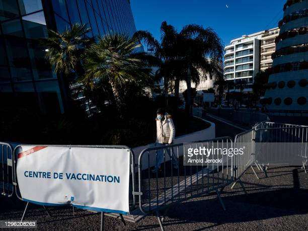 People are coming to get vaccinated at the Cannes Palace of Festivals and Conferences on January 13, 2021 in Cannes, France. The Cannes Palace of...