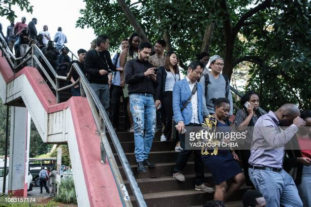 People are evacuated from DusitD2 compound in Nairobi after a blast followed by a gun battle rocked the upmarket hotel complex on January 15 2019 At...