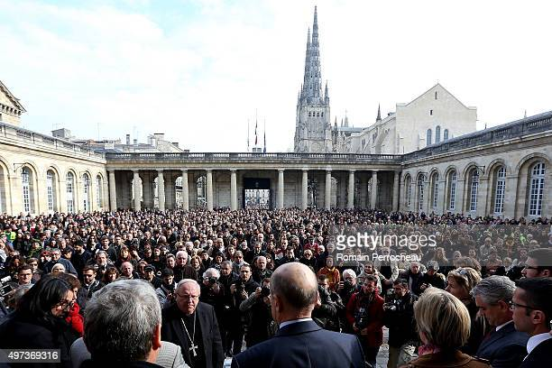 People are listenning Alain Juppe Mayor of Bordeaux in courtyard of Bordeaux's city hall before a minute's silence was observed for victims of the...