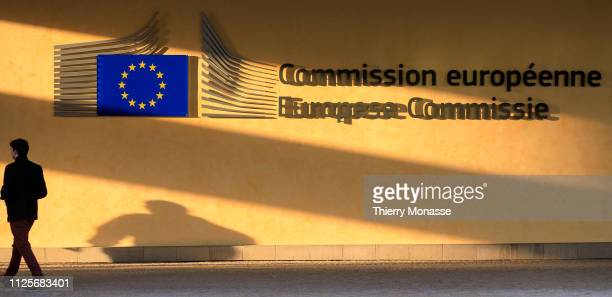 People are passing in front of the Berlaymont the EU Commission headquarter It houses the offices of the President of the European Commission and the...