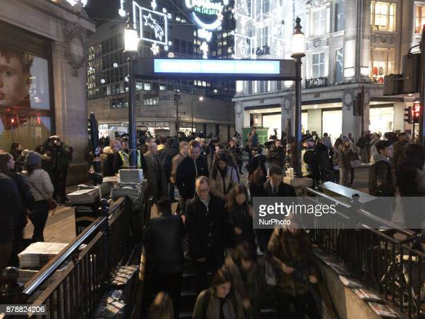 People are seen at Oxford Circus as they responded to an incident in the Underground Station London on November 24 2017 The station has been closed...