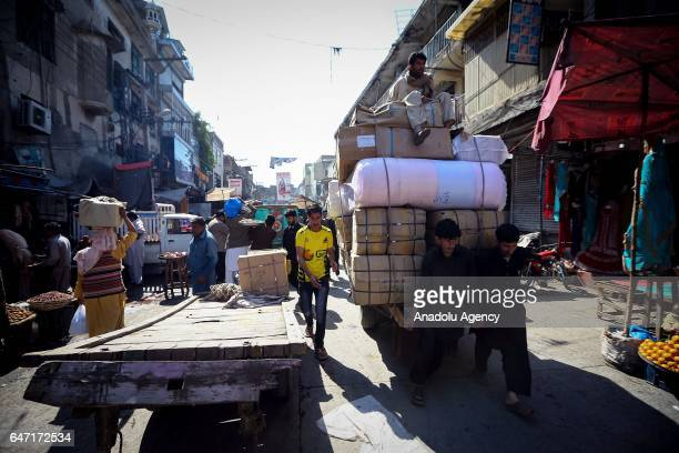 People are seen at Raja market place where Pakistani people prefer shopping due to it's reasonable prices in Rawalpindi Pakistan on March 2 2017...