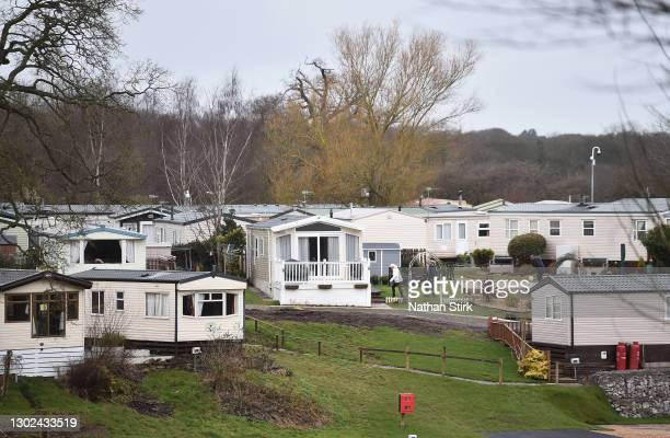 People are seen at Riverdane Holiday Park on February 16, 2021 in Congleton, Cheshire. After a surge of covid-19 cases, fueled partly by a more...