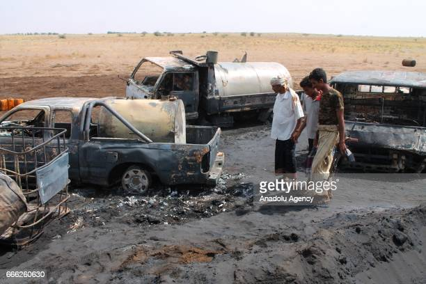 People are seen at the explosion site in Al Hudaydah Yemen on April 8 2017 Yesterday unidentified attackers started a fire at a pipeline as many...