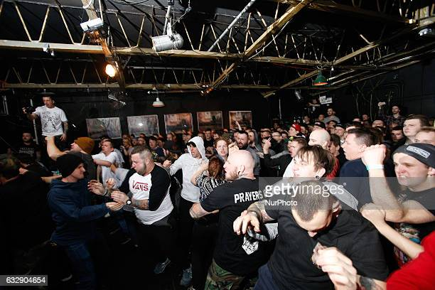 People are seen attending a hardcore concert in the Mozg venue on 28 January 2017 The Mozg venue is one of the oldest music venues in Poland from...