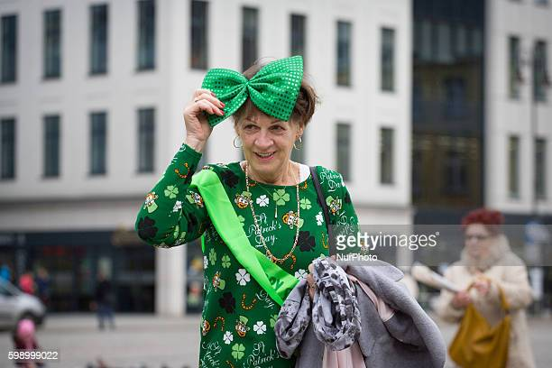 People are seen celebrating Saint Patricks day on the old market square in Bydoszcz on Saturday, the first of such celebrations organized in Polish...