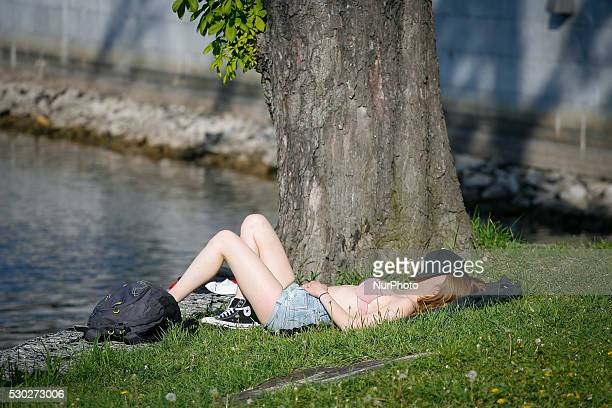 People are seen enjoying the warm weather in Bydgoszcz Poland on 10 May 2016 In the center of Poland on Tuesday temperatures reached up to 24 degrees...
