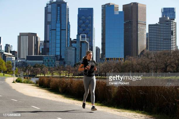 People are seen exercising along the Yarra River on September 06, 2020 in Melbourne, Australia. Victorian Premier Daniel Andrews has outlined his...