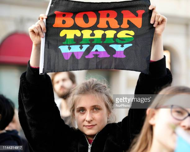 People are seen gathered at a demonstration against homophobia in Warsaw Poland on May 17 2019 Today marks the International Day against Homophobia...
