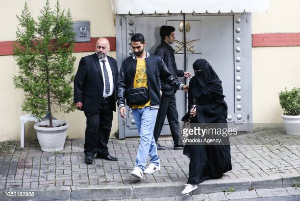 People are seen in front of the Saudi consulate as the waiting continues on the disappearance of Prominent Saudi journalist Jamal Khashoggi in the...