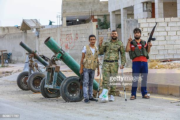 People are seen in Jarabulus Syria on September 22 2016 Syrians have returned to the Syrian town of Jarabulus following its cleansing of Daesh...