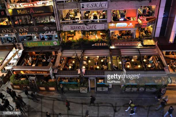 People are seen in various bars and pubs in Ankara Turkey on October 23 2018 According to the latest report by the World Health Organization covering...