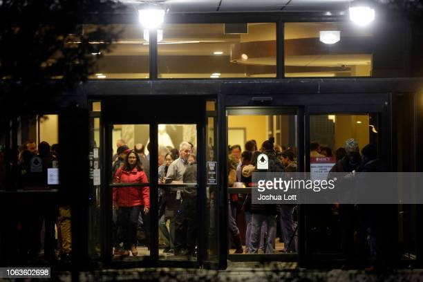 People are seen inside the main entrance of Mercy Hospital where a gunman shot multiple people on November 19 2018 in Chicago Illinois Three people...