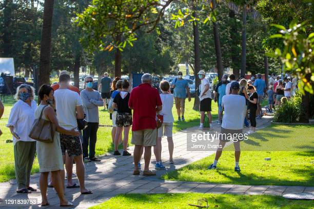 People are seen lining up at a COVID-19 pop-up testing location at Avalon Recreation Centre on December 18, 2020 in Sydney, Australia. A cluster of...