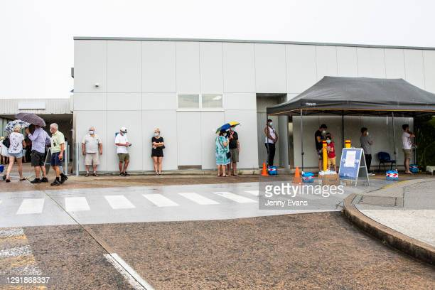 People are seen lining up at a COVID-19 testing site at Mona Vale Hospital on December 18, 2020 in Sydney, Australia.A cluster of Covid-19 cases on...