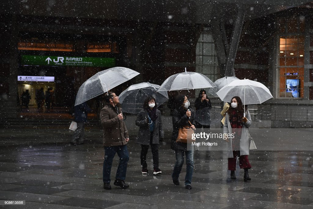 Tokyo Sees First Heavy Snow In Season