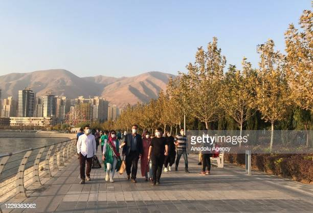 People are seen out as Iran recorded 365 coronavirus-related deaths in last 24 hours, on October 30, 2020 in Tehran, Iran. A number of people...