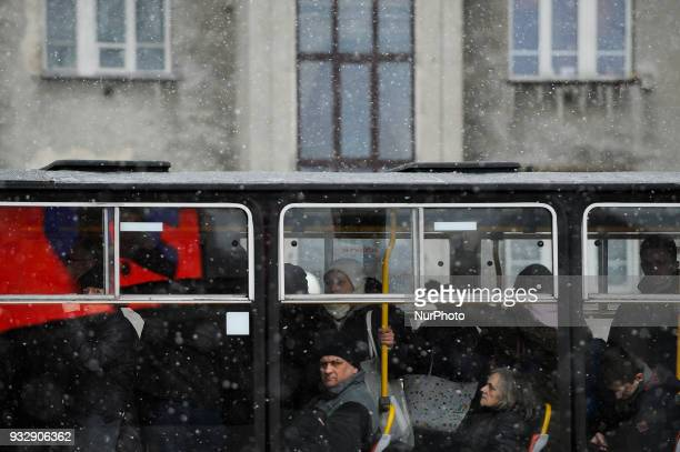 People are seen packed in a tram in Warsaw Poland on March 16 2018 After a spell of warm weather temperatures in the country again dropped below zero