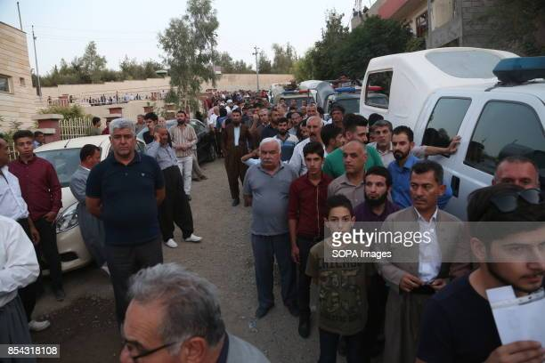 People are seen queueing up during the referendum September 25 2017 is a historic day for Kurdish people around the world as many Kurdish took part...