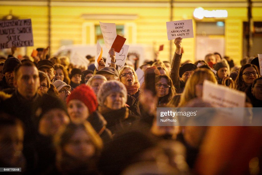 People are seen rallying on International Womens Day on 8 March, 2017. All across the country women came to rally in major cities to protest government law changes deemed infringements on freedom of choice and womens rights.