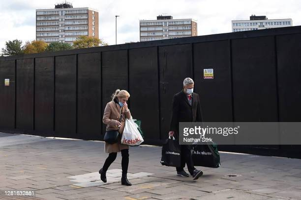 People are seen shopping in StokeonTrent as it prepares to move up to High Covid Alert Level on October 22 2020 in Hanley StokeonTrent