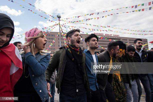 People are seen singing traditional Kurdish songs during the celebration. Kurdish community gathers at the neighbourhood of Bakrköy to celebrate...