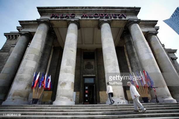 People are seen taking part in the elections for European Parliament in the Palace of Culture and Sciences in Warsaw Poland on May 26 2019
