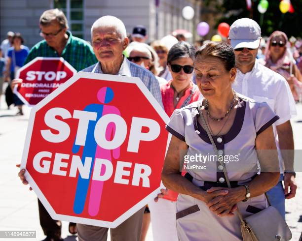 People are seen taking part in the March for Life and Family in Warsaw Poland on June 9 2019 Several thousand people took part in the march that was...
