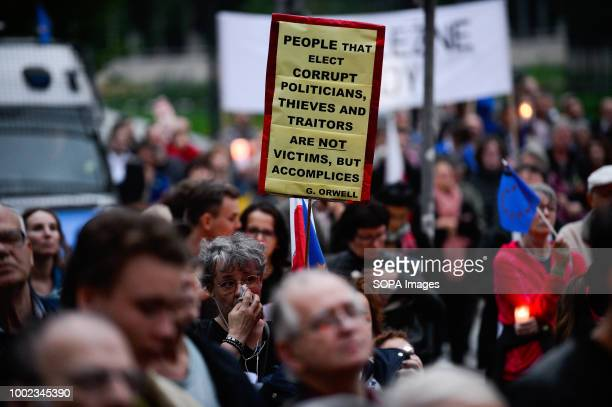 People are seen taking part in the protest People demonstrate against reforms of the Supreme Court and demand for free courts in Krakow Poland