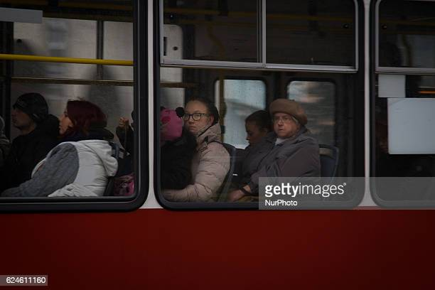 People are seen travelling by tram in the old centre of the city on Saturday 19 November 2016 in Bydgoszcz Poland Daily life in Poland ahead of the...
