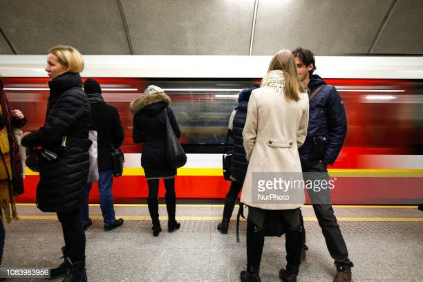 People are seen waiting for the subway in Warsaw Poland on January 15 2019
