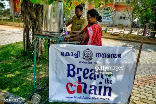 People are seen washing their hands as a precaution against the spread of Coronavirus in Kochi With 298 confirmed coronavirus cases India has already...