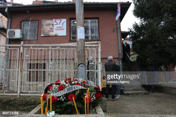 People are seen where Kosovo Serb politician Oliver Ivanovic was killed in northern town of Mitrovica Kosovo on January 16 2018 Kosovo Serb...