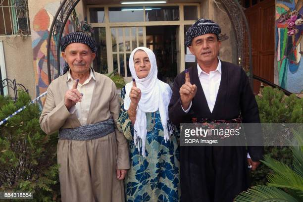 People are showing their fingers as sign of their participation in referendum September 25 2017 is a historic day for Kurdish people around the world...