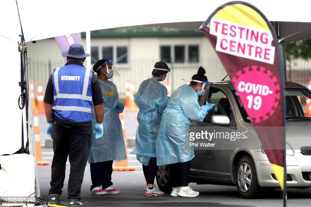 People are tested for COVID-19 in Otara on March 04, 2021 in Auckland, New Zealand. Auckland is currently in level 3 lockdown while the rest of New...