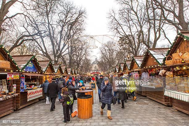 人々はリヴィウウクライナのクリスマスマーケットで歩いています - リヴィウ ストックフォトと画像